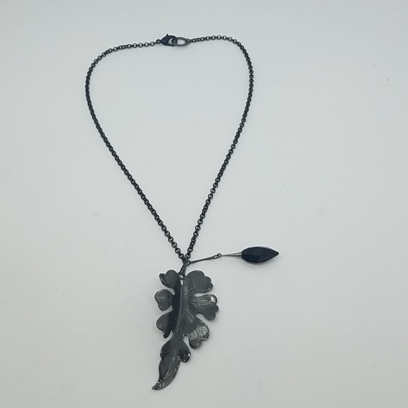 GASOLINE GLAMOUR Jewelry - Fire from heaven gunmetal leaf necklace New
